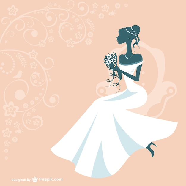 Bride silhouette with white wedding dress and orange background Free Vector