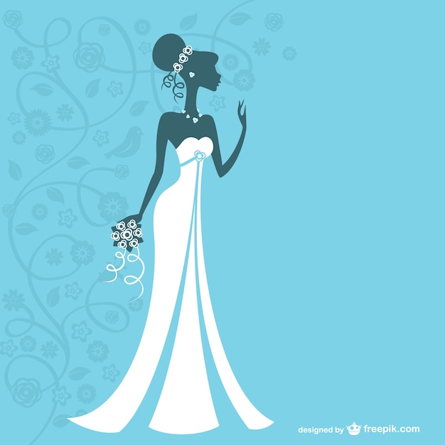 Bride silhouette with white wedding dress Free Vector