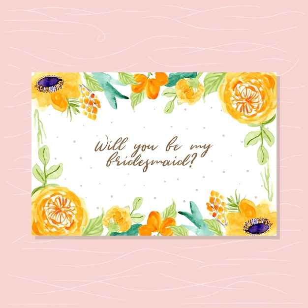 Bridesmaid card with watercolor floral frame Vector   Premium Download