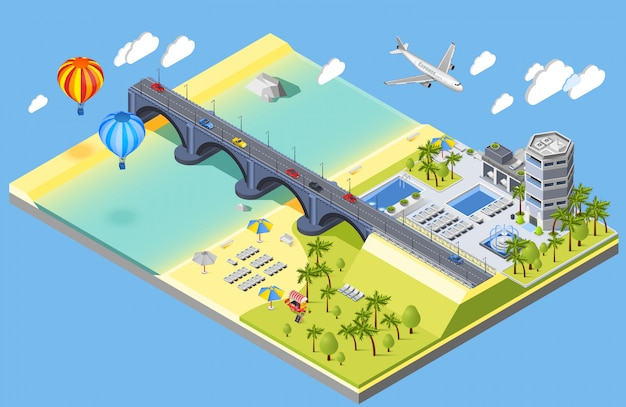 Bridge and beach illustration Free Vector