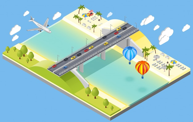 Bridge and beach resort illustration Free Vector