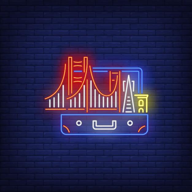 Bridge and buildings in open suitcase neon sign Free Vector