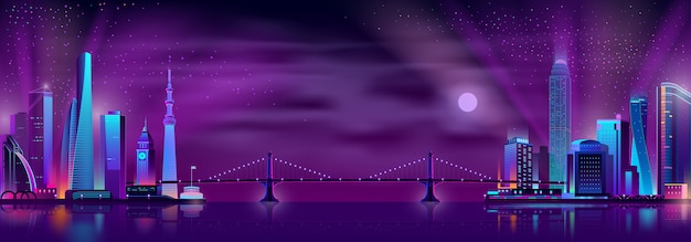 Bridge connecting city districts cartoon Free Vector