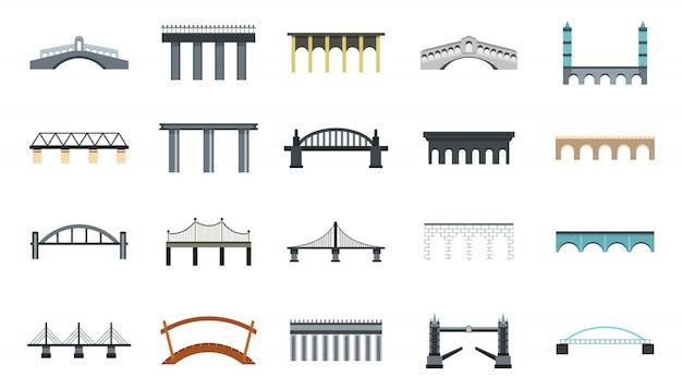 Bridge icon set. flat set of bridge vector icons collection isolated Premium Vector