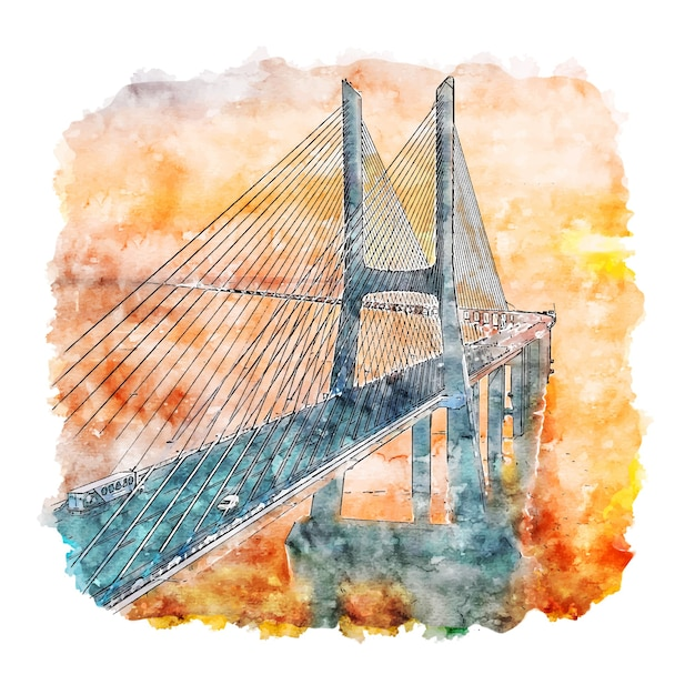 Bridge lisbon portugal watercolor sketch hand drawn illustration Premium Vector