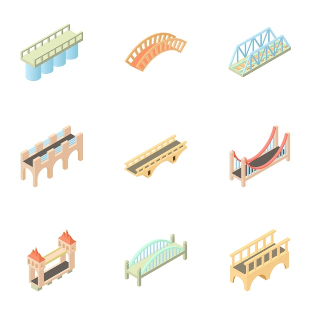 Bridge set, cartoon style Premium Vector