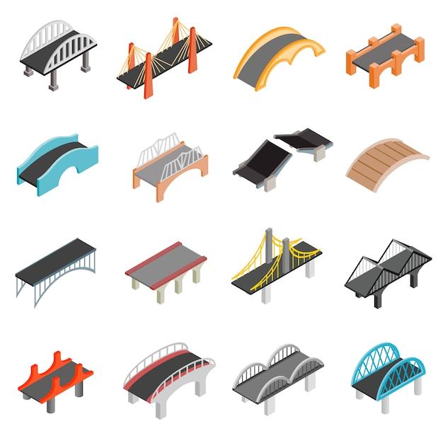 Bridge set icons Premium Vector