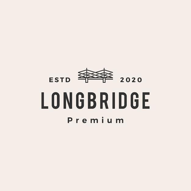 橋ビンテージロゴアイコンイラスト Premiumベクター
