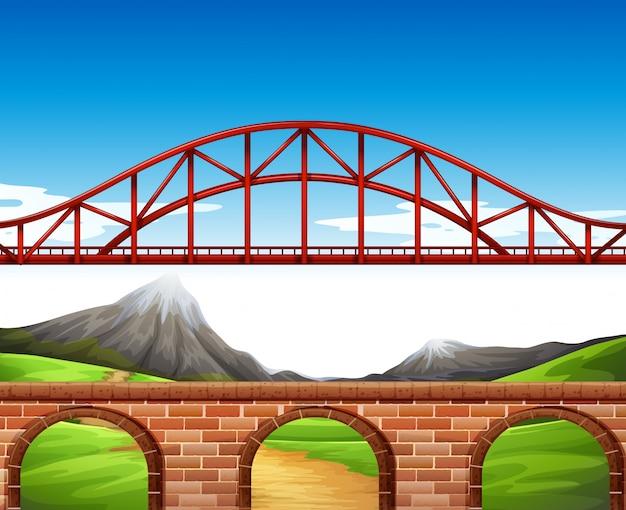 Bridge over the wall Free Vector