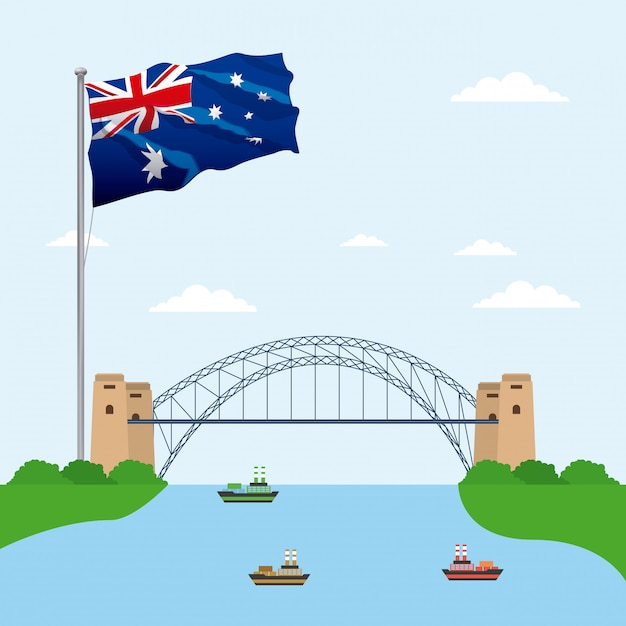 Bridge over water with the flag of australia Free Vector