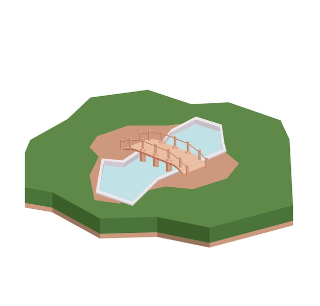 Bridge wood isometric  isolated icon design Premium Vector