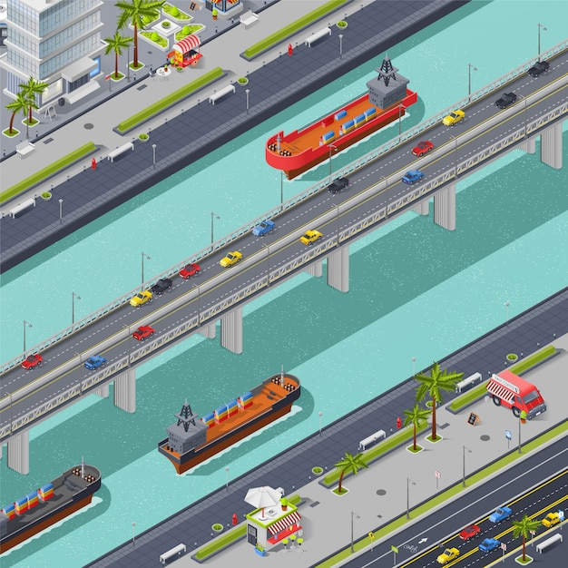 Bridges in city isometric composition Free Vector
