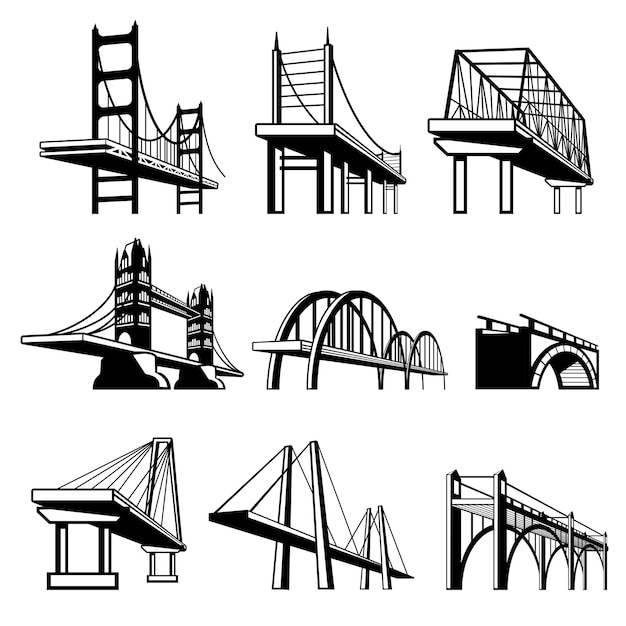 Bridges in perspective vector icons set. architecture construction, urban road structure engineering object illustration Free Vector