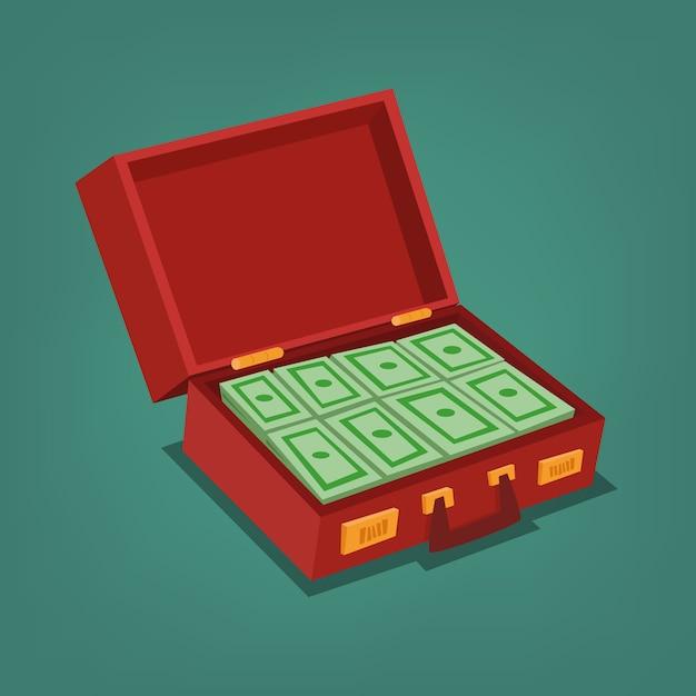 お金でいっぱいのブリーフケース Premiumベクター