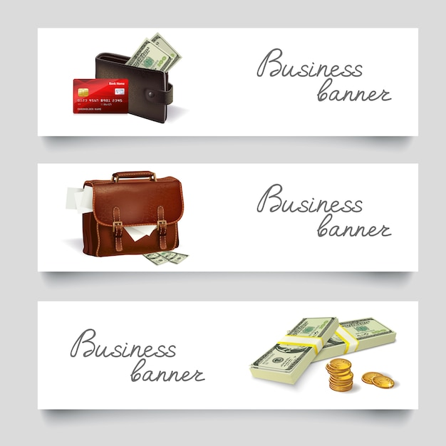 Briefcase money business banners Free Vector
