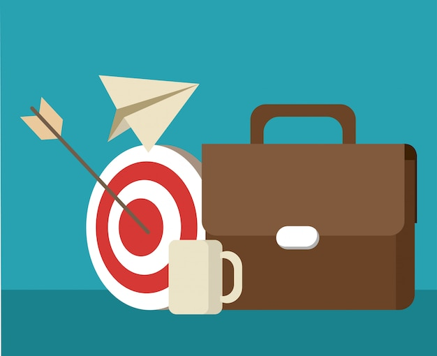 briefcase with target and coffee cup vector premium download