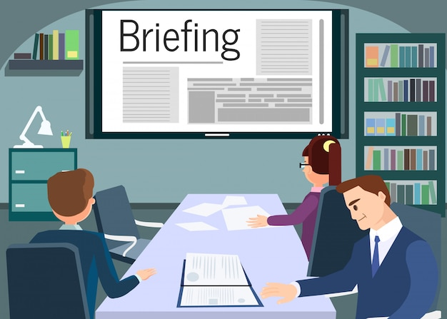 Briefing or training conference business meeting. Premium Vector