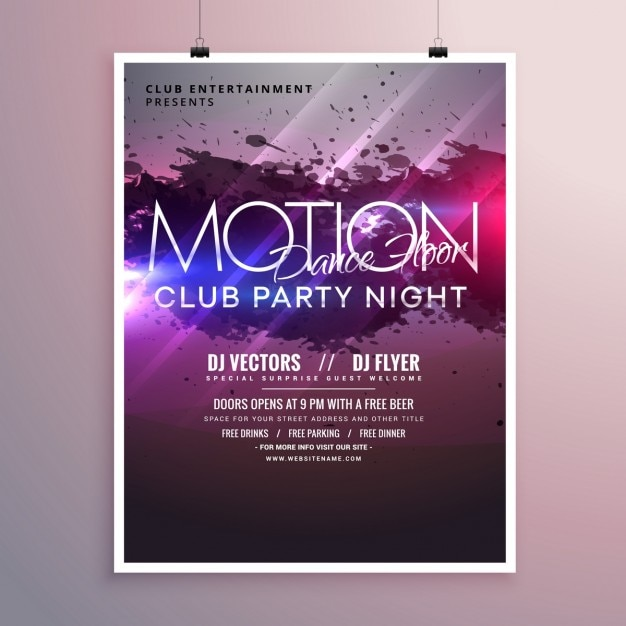 Bright abstract party poster Free Vector