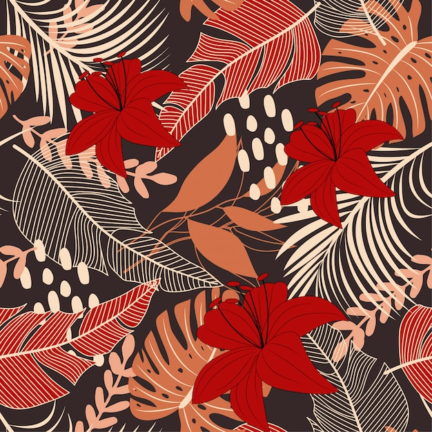 Bright abstract seamless pattern with colorful tropical leaves and flowers on brown Premium Vector
