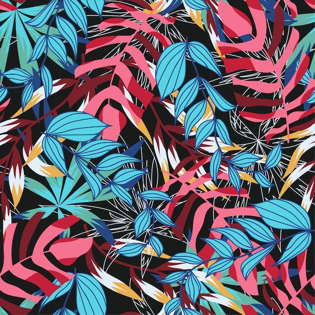 Bright abstract seamless pattern with colorful tropical leaves and plants on dark Premium Vector