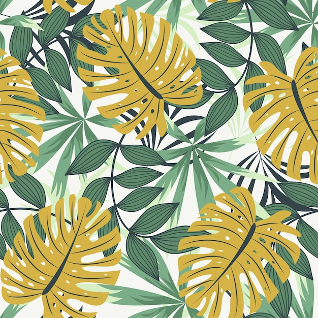 Bright abstract seamless pattern with colorful tropical leaves and plants on white Premium Vector