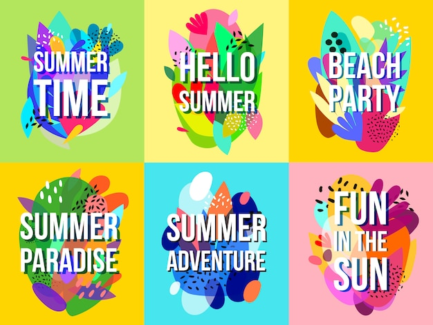 Bright abstract summer sale banners collection Free Vector