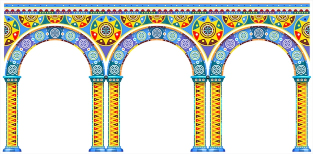 Bright arch of oriental palace Premium Vector