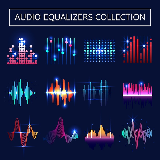 Bright audio equalizer neon set with sound waves symbols on blue background Free Vector