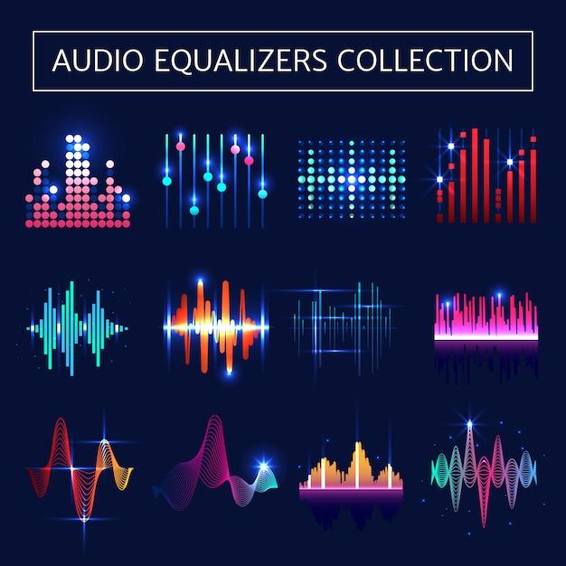 Яркий неоновый эквалайзер с символами звуковых волн на синем фоне Бесплатные векторы