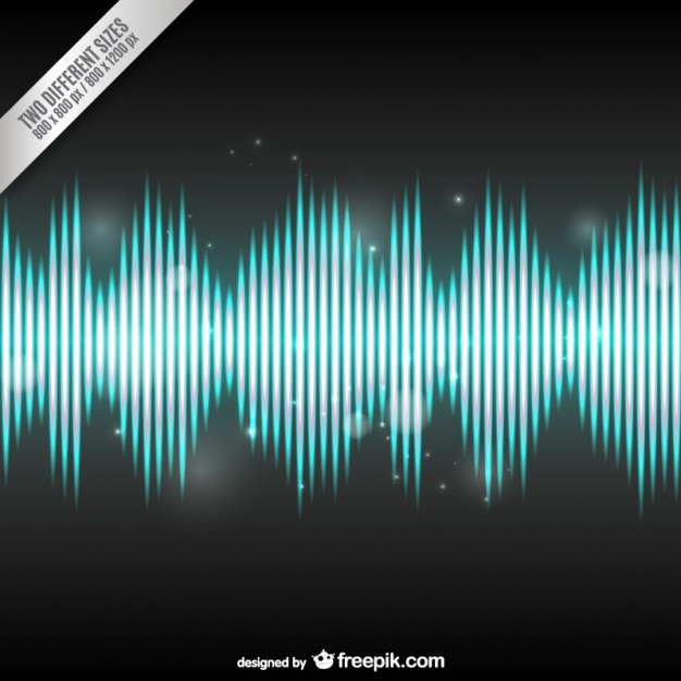 Acoustic Sound Waves : Bright audio wave background vector free download