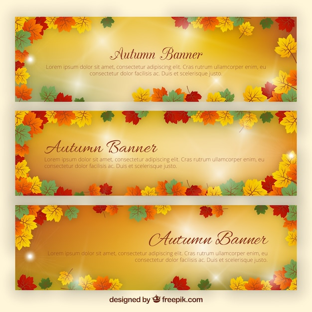 Bright autumn banners Free Vector
