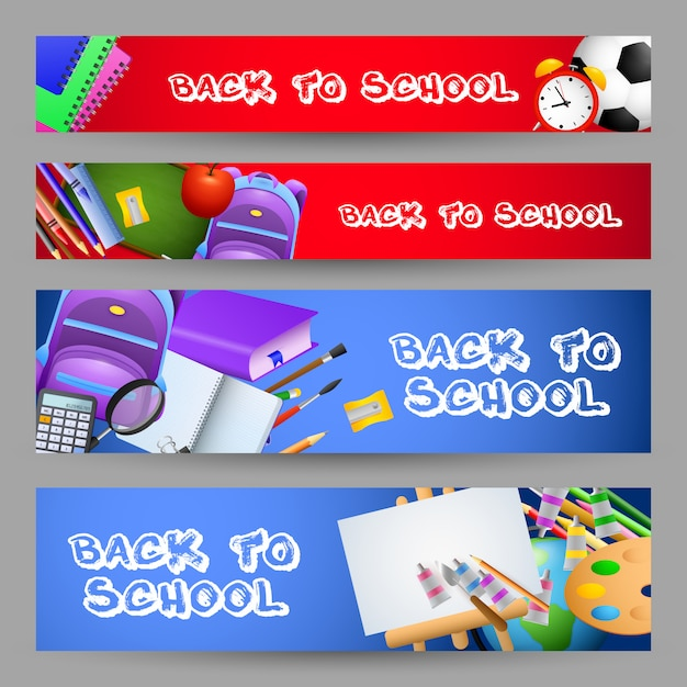 Bright back to school letterings set, stationery, backpacks Free Vector