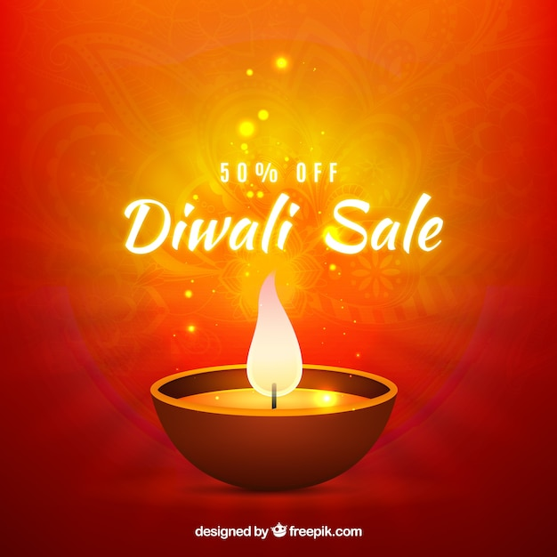 Bright background of diwali offers
