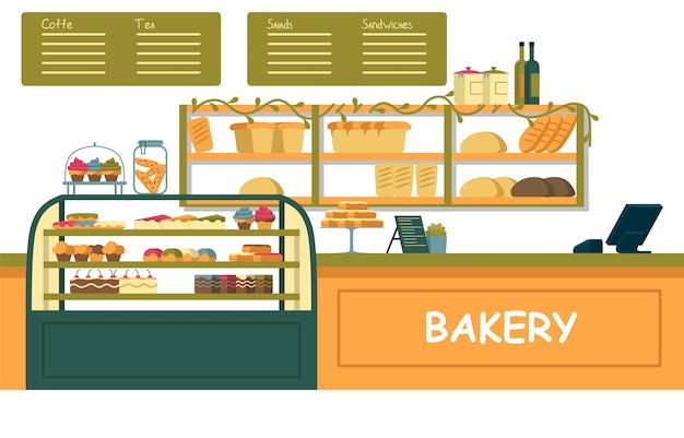 さまざまなペストリーと明るいパン屋さんのショーケース。 Premiumベクター