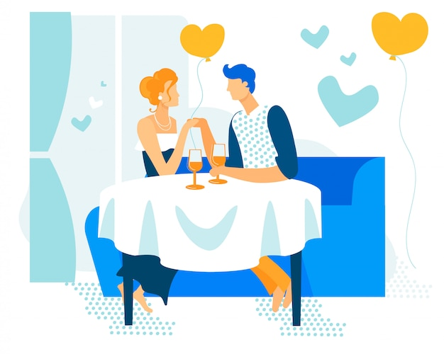 Bright banner couple in love event cartoon flat. Premium Vector