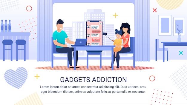 Bright banner inscription gadgets addiction template Premium Vector