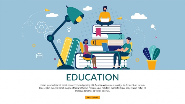 Bright banner of is written education, cartoon flat. Premium Vector