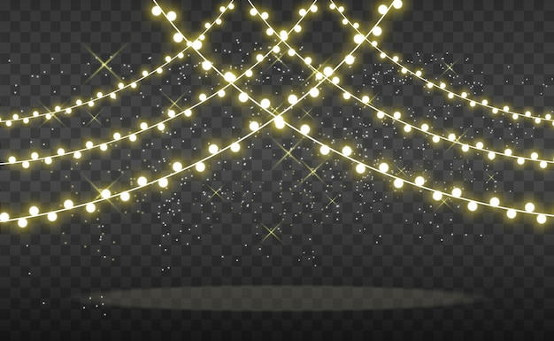 Bright, beautiful lights, design elements. glowing lights. garlands, light decorations. Premium Vector