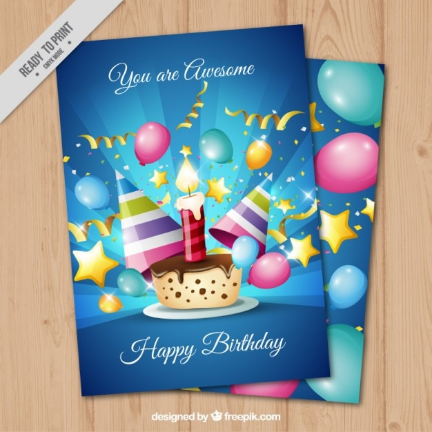 Bright birthday card with birthday cake