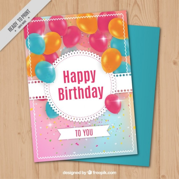 Bright birthday card with realistic balloons Free Vector