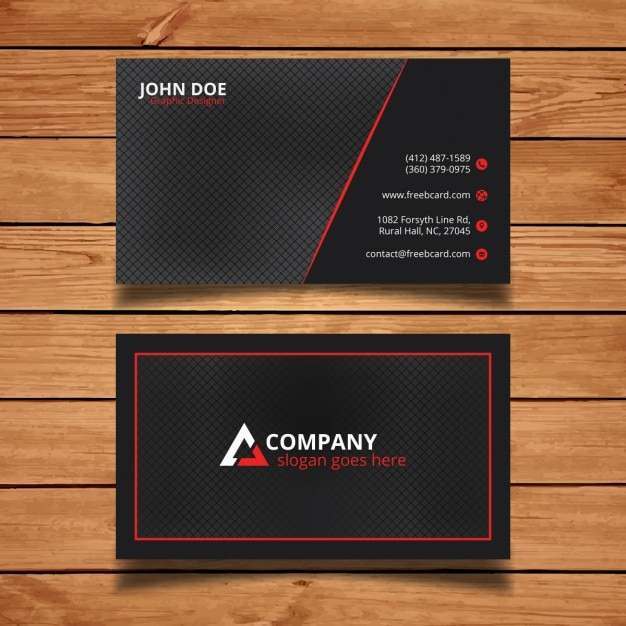 Bright black and red corporate card Free Vector