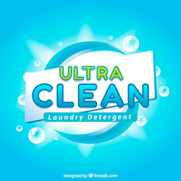 Bright blue background of detergent Free Vector