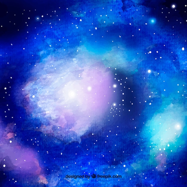 Bright blue watercolor galaxy background