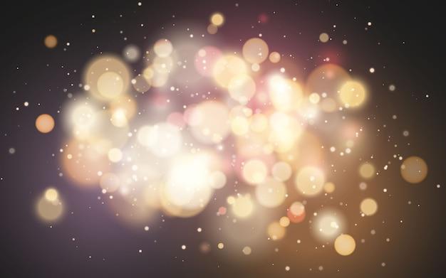 明るいボケ効果。お祝いの魔法の明るい背景。クリスマスの休日のデザイン。 Premiumベクター