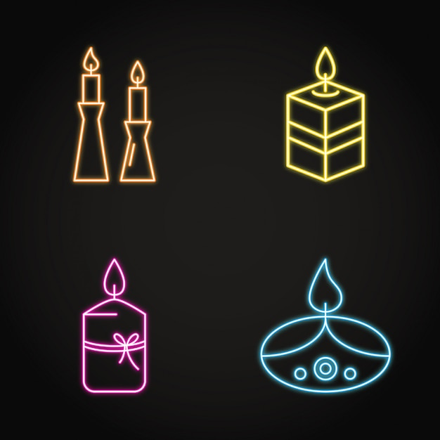 Bright candles icon set in neon line style Premium Vector