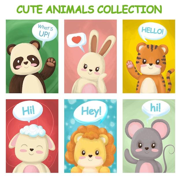 かわいい動物と明るいカード Premiumベクター
