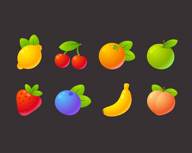 Bright cartoon fruit set Premium Vector