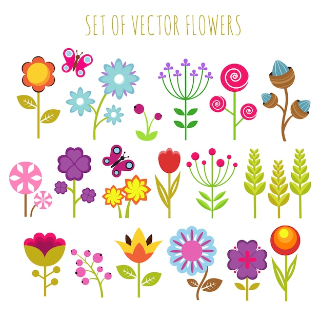 Bright child garden flowers and butterfly vector set Premium Vector