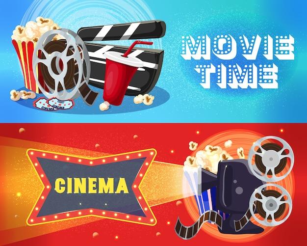 Bright cinema horizontal banners Free Vector