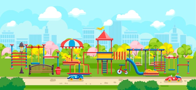 Bright city park with playground for kids Premium Vector
